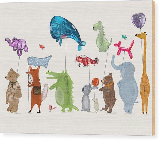 Balloon Parade Wood Print