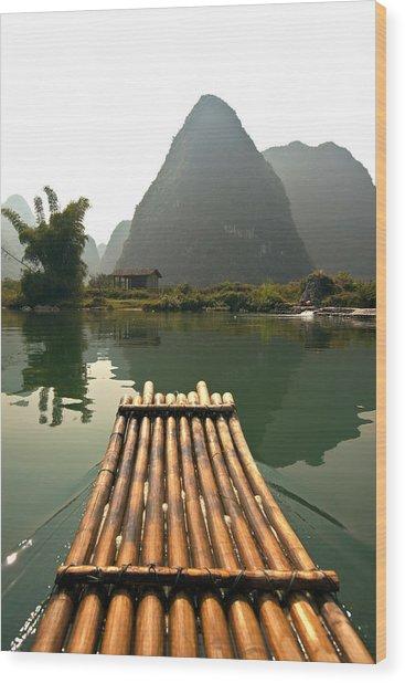 Bamboo Raft And Karst Pinnacle, Yulong Wood Print