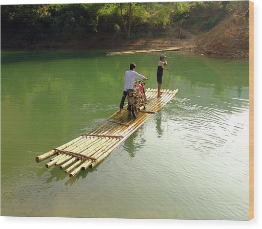 Bamboo Raft To Cross River With Wood Print