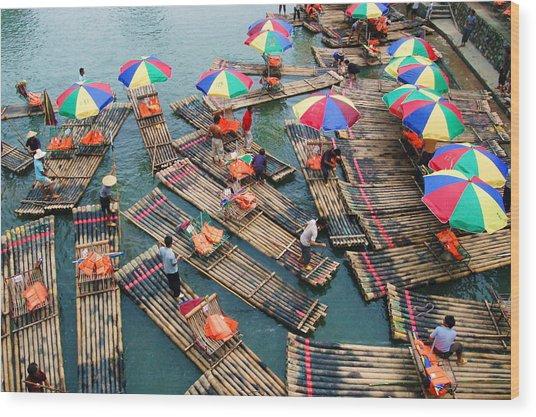 Bamboo Rafts Wood Print