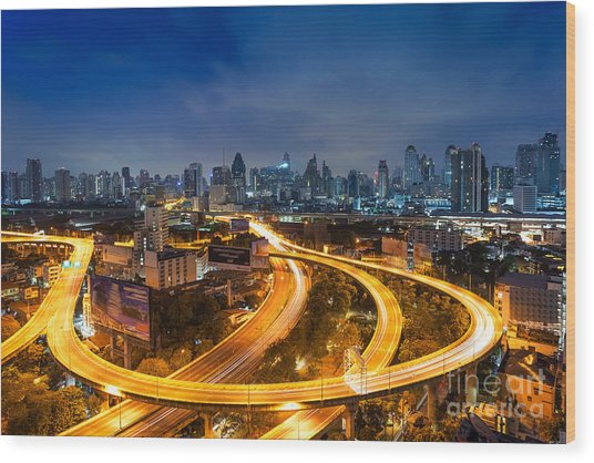 Bangkok Cityscape. Bangkok Night View Wood Print