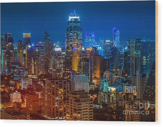 Bangkok Night Wood Print