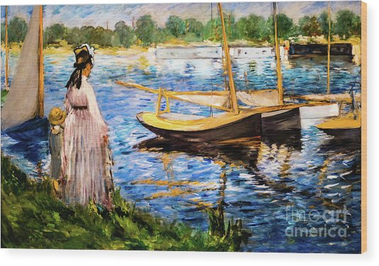 Banks Of The Seine At Argenteuil Wood Print