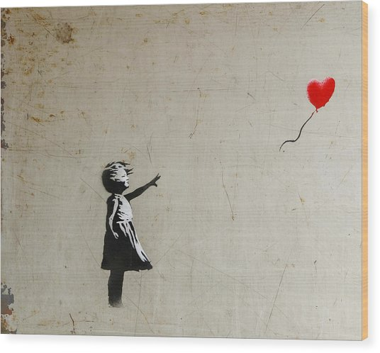 Wood Print featuring the photograph Banksy Balloon Girl Amsterdam by Gigi Ebert