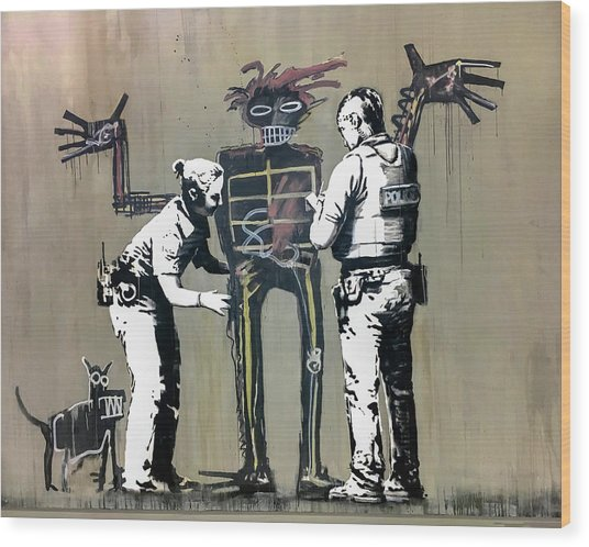 Wood Print featuring the photograph Banksy Coppers Pat Down by Gigi Ebert