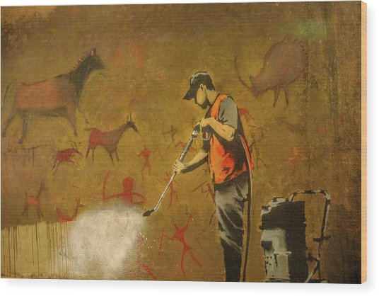 Wood Print featuring the photograph Banksy's Cave Painting Cleaner by Gigi Ebert