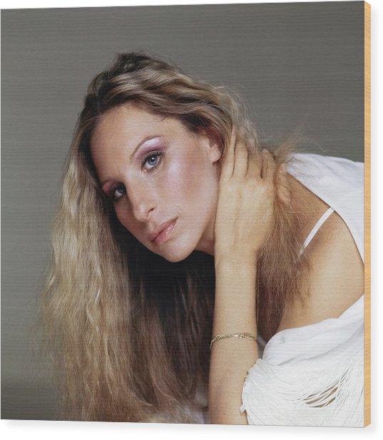 Barbra Streisand In Purple Eyeshadow Wood Print by Francesco Scavullo