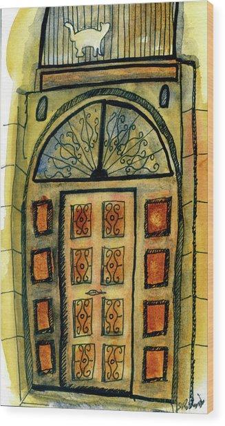 Barcelona Door Wood Print