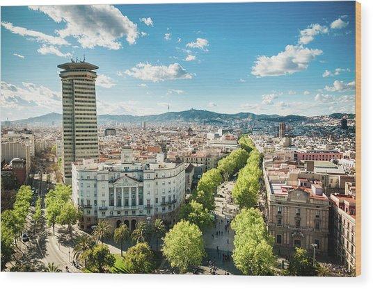 Barcelona Skyline Ramblas Wood Print