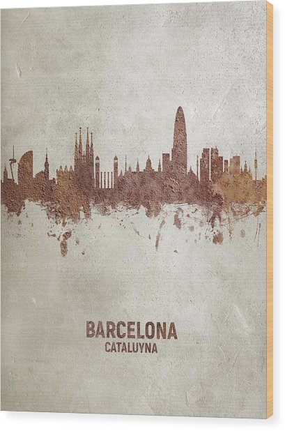 Barcelona Spain Rust Skyline Wood Print