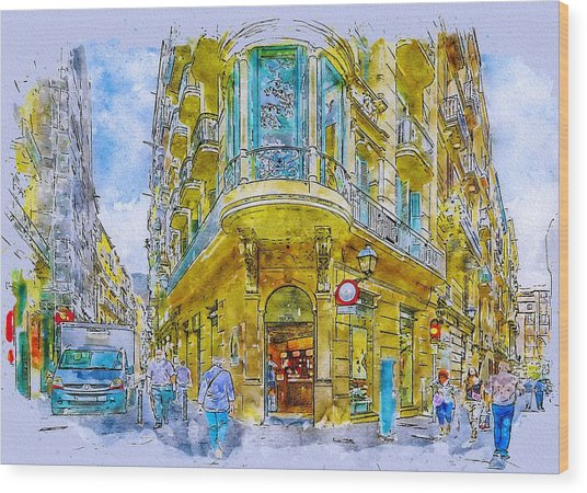 Barcelona Street Wood Print