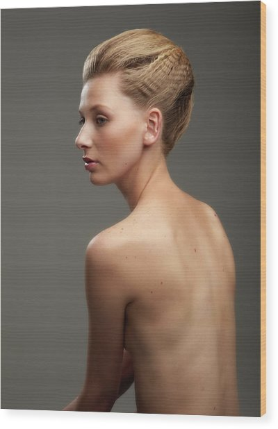 Bare Back Girl With Hair Tied Up Wood Print