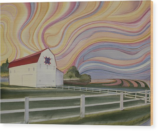 Wood Print featuring the painting Barn On Pretty Prairie by Scott Kirby