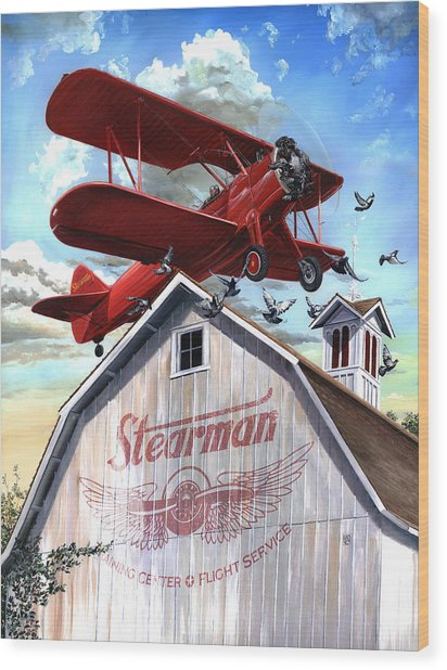 Wood Print featuring the painting Barn Stormer - Customizeable by Clint Hansen