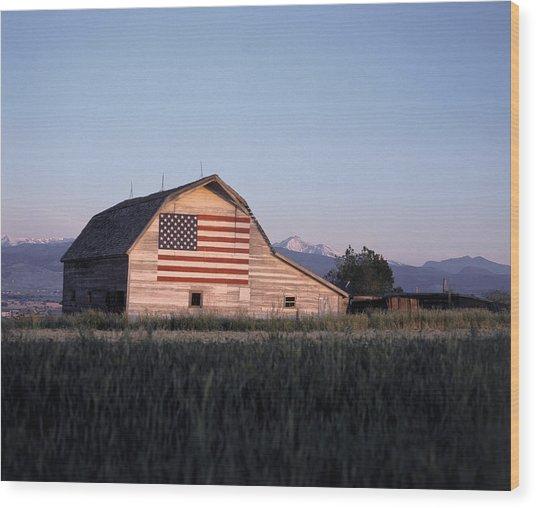 Barn W Us Flag, Co Wood Print by Chris Rogers
