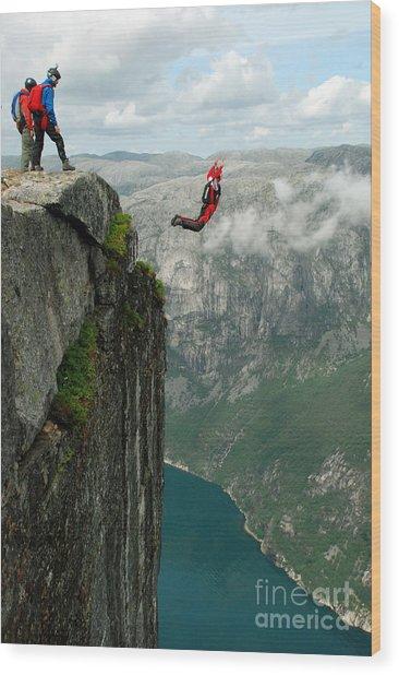 Base Jump Off A Cliff Wood Print
