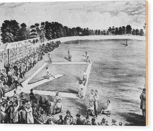 Baseball Game Wood Print by Hulton Archive