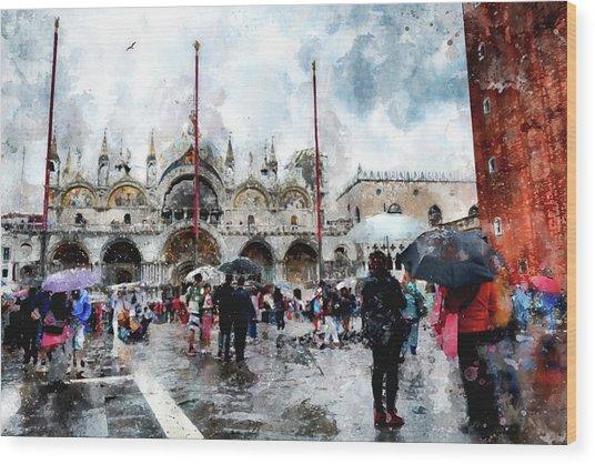 Basilica Of Saint Mark In Venice, Italy - Watercolor Effect Wood Print