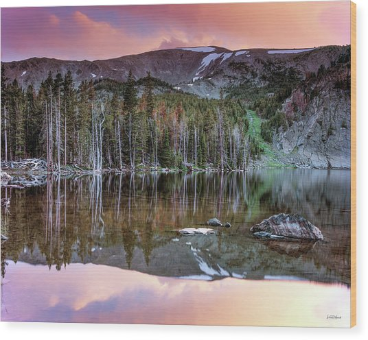 Basin Lake Sunset Wood Print by Leland D Howard