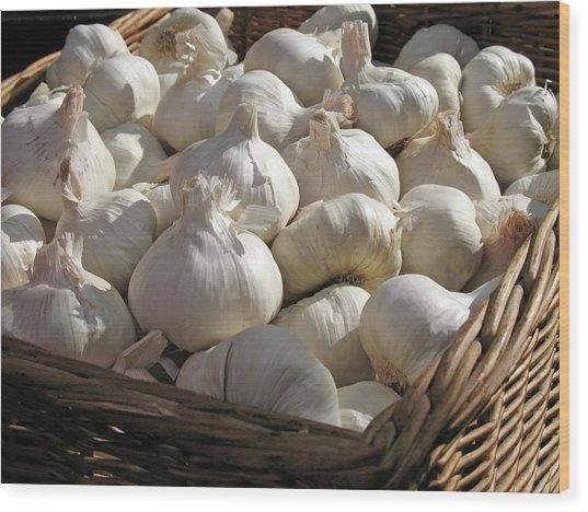 Basket Full Of Garlic Wood Print