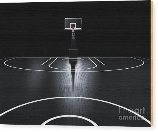 Basketball Court. Photorealistic 3d Wood Print