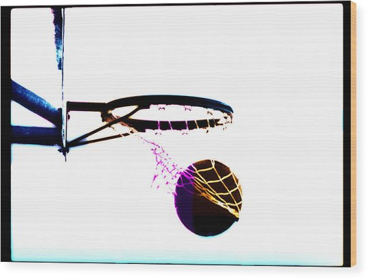 Basketball Going Through Net, Close-up Wood Print