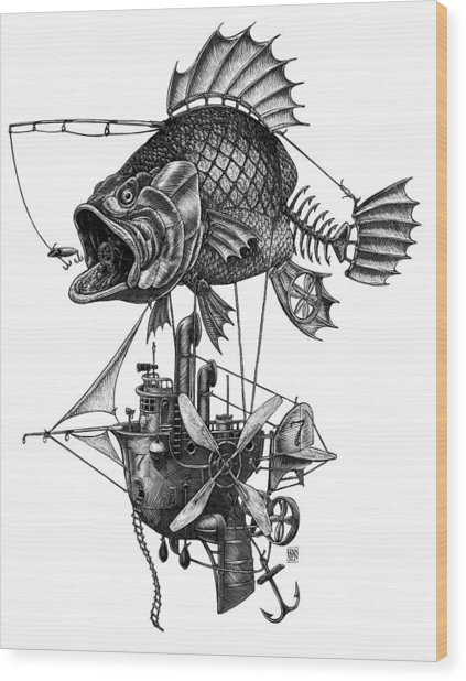 Wood Print featuring the drawing Bass Airship by Clint Hansen