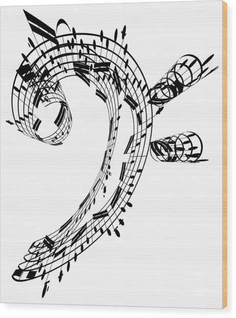 Bass Clef Made Of Music Notes Wood Print by Ian Mckinnell