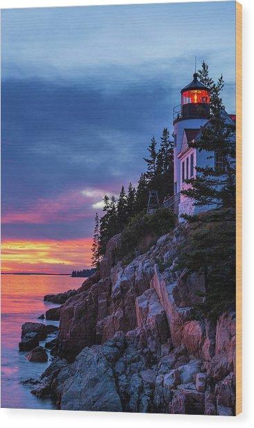 Bass Harbor Head Lighthouse At Twilight Wood Print