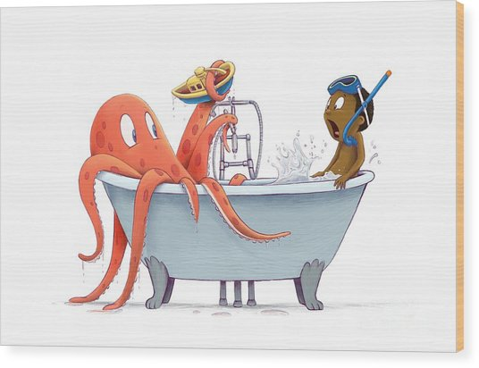 Bathtime Wood Print