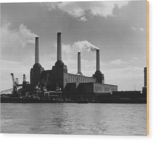 Battersea Power Wood Print by Woolnough