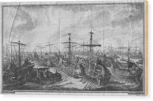 Battle Of Cape Ecnomus Wood Print by Hulton Archive
