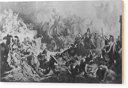 Battle Of Salamis Wood Print by Hulton Archive