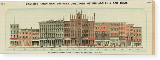 Baxter's Panoramic Business Directory Wood Print