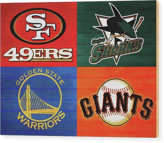 Bay Area Sports Teams Barn Door Wood Print