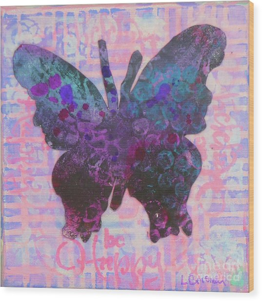 Be Happy Butterfly Wood Print