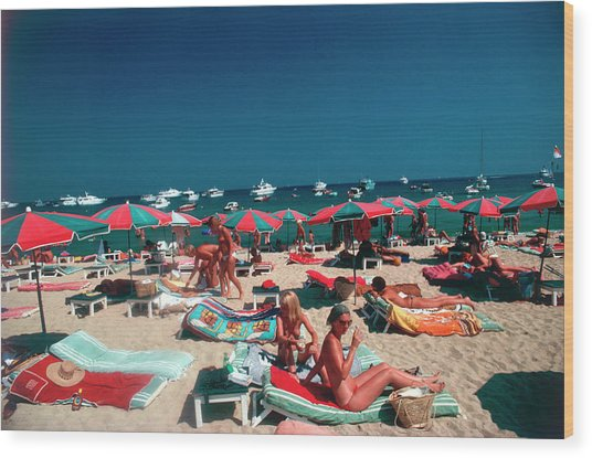 Beach At St. Tropez Wood Print
