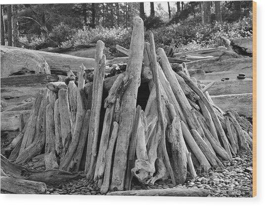 Beach Fort Wood Print