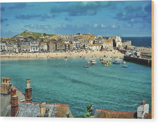 Beach From Across Bay St. Ives, Cornwall, England Wood Print