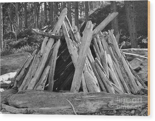 Beach Hut II Wood Print