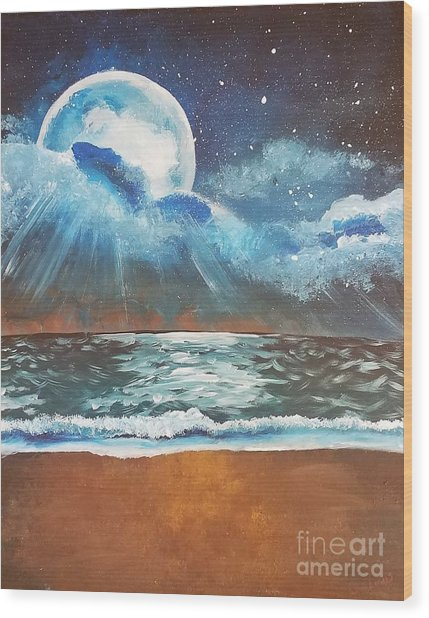 Beach Moon  Wood Print