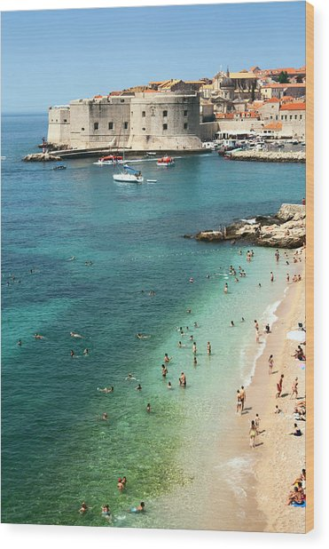 Beach Of Dubrovnik Wood Print by Spooh