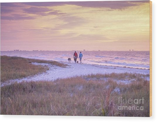 Sunrise Stroll On The Beach Wood Print