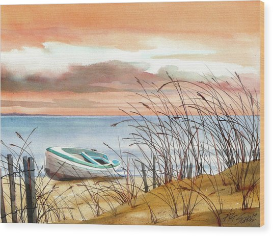 Beached In Breeze Wood Print by Art Scholz