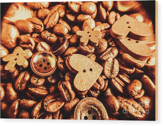 Beans And Buttons Wood Print
