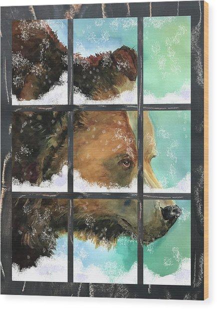 Bear Outside My Window Wood Print