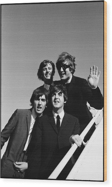 Beatles Arriving At Los Angeles Airport Wood Print by Bill Ray
