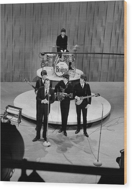 Beatles On Ed Sullivan Show Wood Print by Popperfoto