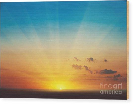 Beautiful Blazing Sunset Landscape At Wood Print