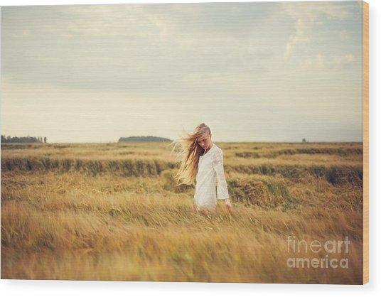 Beautiful Blonde Walks Into The Field Wood Print